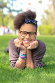 African american black girl child to the park — Stock Photo