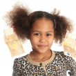 African American child with Asiatic black money euros on hair - Stock fotografie