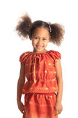 Afro american beautiful girl children with black curly hair isol — Stock Photo