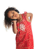 Afro american black asian beautiful children with curly hair lis — Stock Photo