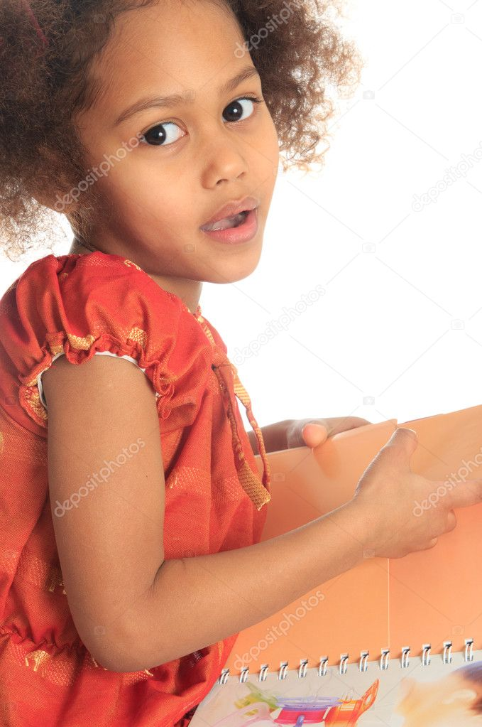 African American Asian black child reads a book isolated metisse — Stock Photo #9212365