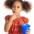 Stock Photo: Afro american black asian beautiful children with curly hair lis