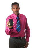 Businessman black with tie and phone isolated — Stock Photo