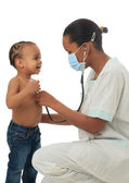 Black African American nurse with child isolated — Stock Photo
