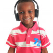 African american black child listening to music isolated — Stock Photo