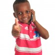 African American child with black telephone isolated — Stock Photo #9787173