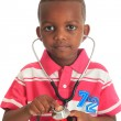 Stock Photo: Black African American child with stethoscope and car