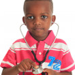 Royalty-Free Stock Photo: Black African American child with stethoscope and car