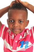Afro american beautiful black child who smiles isolated — Stock Photo