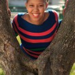 Beautiful woman afro american black tree in park — Stock Photo