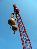 Wrecking Balls with Red Crane — Stock Photo