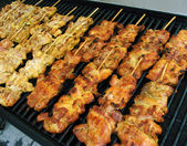 Chicken Kebabs on Grill — Stock Photo