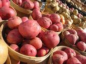 картофель в корзинах на рынке фермеров — Стоковое фото