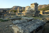 Tombs in ruins of ancient city Hierapolis — Stock Photo