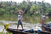 Men in canoe — Stock Photo