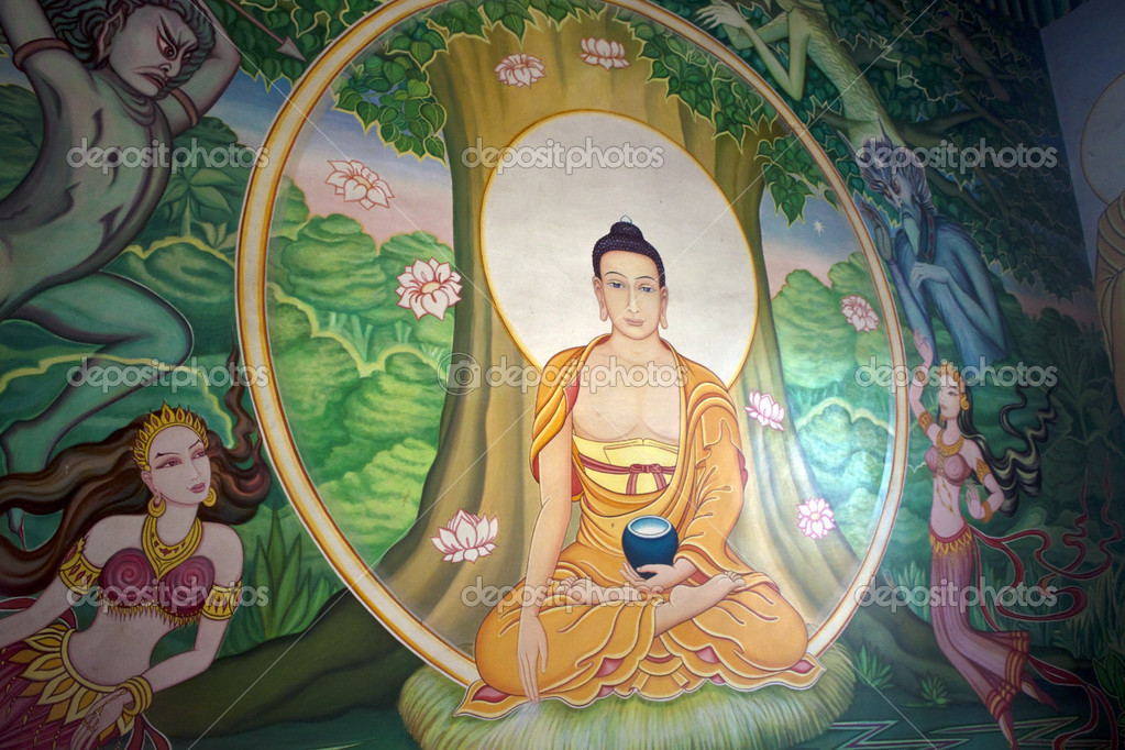 Wall painting in a monastery in Bodhgaya, India. Bodhgaya is the place where Buddha got enlightenment after seven weeks of meditation , so it&#039;s the most sacred place of Buddhism.  Stock Photo #10171840