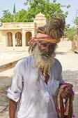 An unidentified holy man at Gadi Sagar Gat — Stock Photo