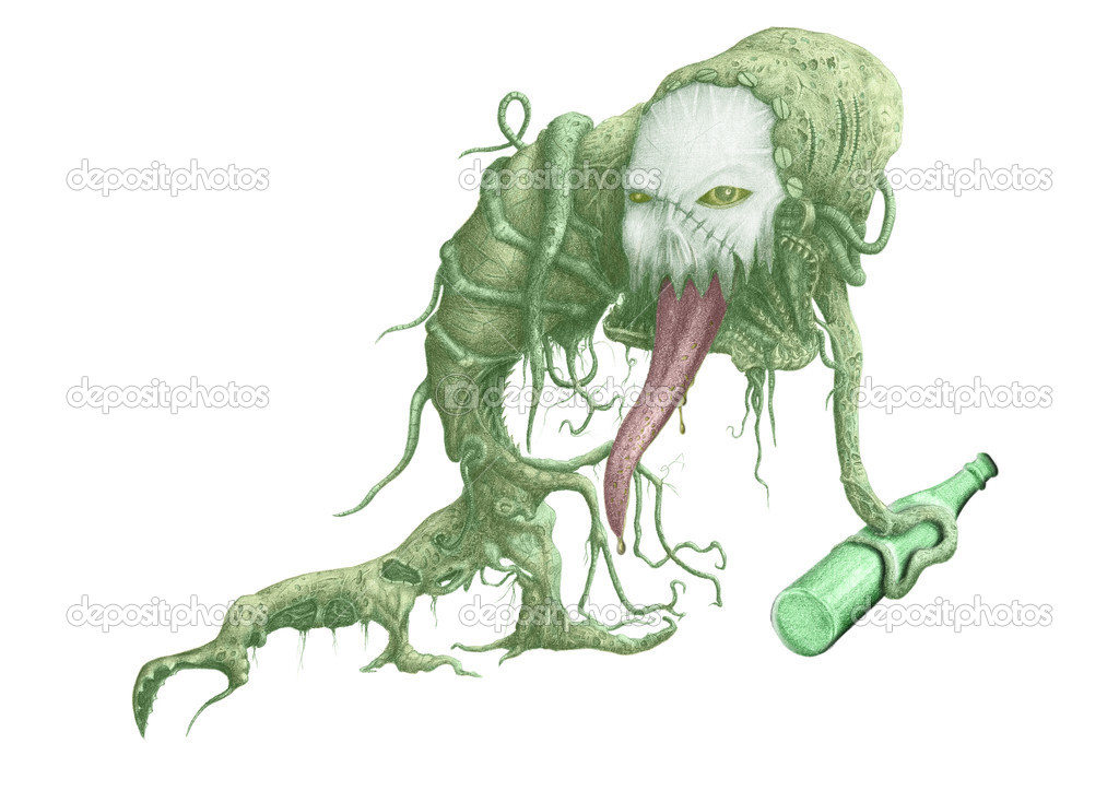 Figure terrible creature with a bottle of alcohol in the tentacles  Stock Photo #10725961
