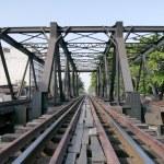 Wood railway bridge — Stock Photo