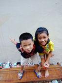 Bangkok May 2010.Children who live along the side rails, Bangkok Thailand — Stock Photo