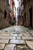 úzká ulice ve městě rovinj, chorvatsko — Stock fotografie