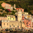 Vernazza Harbor front Church at Sunset in Cinque Terre, Italy - Stockfoto