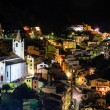 Aerial View on Illuminated Church and  Riomaggiore at Night, Cin - Stock Photo