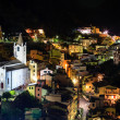 Aerial View on Illuminated Church and Riomaggiore at Night, Cin — Stock Photo