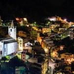Aerial View on Illuminated Church and Riomaggiore at Night, Cin — Stock Photo