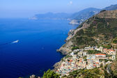 Beautiful View on Village of Riomaggiore and Cinque Terre, Italy — Stock Photo