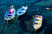 Three Boats Anchored near Riomaggiore in Cinque Terre, Italy — Stock Photo