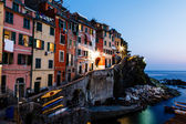 Village of Riomaggiore in Cinque Terre Illuminated at Night, Ita — Stock Photo