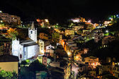 Aerial View on Illuminated Church and Riomaggiore at Night, Cin — Foto de Stock