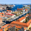 Stock Photo: Aerial View on Roofs and Canals of Copenhagen, Denmark