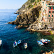 Harbor in the Village of Riomaggiore in Cinque Terre, Italy - Stockfoto