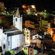 Stock Photo: Aerial View on Illuminated Church and Riomaggiore at Night, Cinq