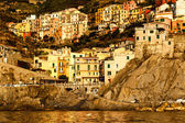Sunset in the Village of Manarola in Cinque Terre, Italy — Stock Photo