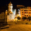 Stock Photo: VernazzChurch on SeBeach at Night in Cinque Terre, Italy