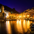 Vernazza Harbor at Night in Cinque Terre, Italy — Stock Photo