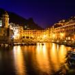 Vernazza Harbor at Night in Cinque Terre, Italy — Stock Photo