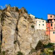 Stock Photo: Houses High on Cliff in Village of Corniglia, Cinque Ter