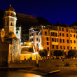 VernazzChurch on SeBeach at Night in Cinque Terre, Italy — Stock Photo #10639305