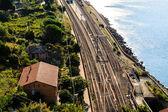 Estación de ferrocarril en la aldea de corniglia, cinque terre, italia — Foto de Stock