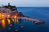 Harbor in Vernazza in the Night, Cinque Terre — Stock Photo