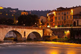 Roman Bridge in the Morning Light in Verona, Italy — Stock Photo