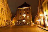 Street of Old Tallinn in the Night, Estonia — Stockfoto
