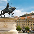 Statue of King on Central Square in Lisbon, Portugal - Stock Photo