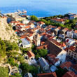 Stock Photo: Panoramic View of Omis and Holy Spirit Church, Croatia