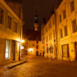 Night Street in the Old Town of Tallinn, Estonia — 图库照片