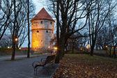 Illuminated Tower in the Old Town of Tallinn , Estonia — Stock Photo